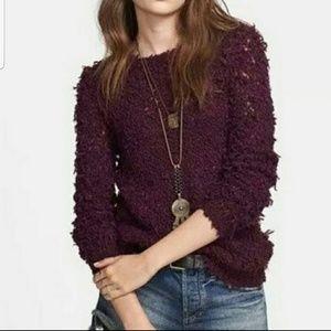Free People Purple Shaggy Fuzzy Open Knit Sweater